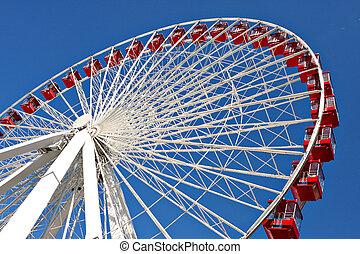 rueda, gigante, chicago, arriba, ferris, marina, cierre, ...