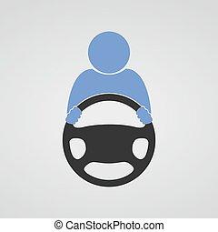 rueda, icon., entrepuente, vector.