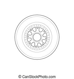 rueda, icono, estilo, carreras, contorno