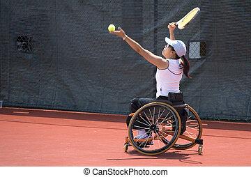 rueda, incapacitado, silla, tenis