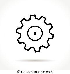 rueda, línea, delgado, icono
