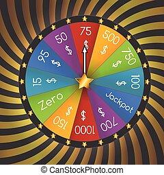 rueda, lucky., vector, fortuna, ilustración
