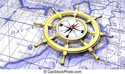 rueda, mapa, ship's, encima, compás