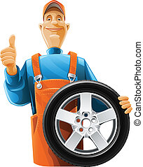 rueda, mecánico auto