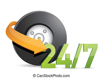 rueda, mecánico, servicio, 24/7, concepto