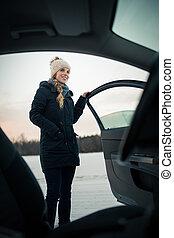 rueda, mujer, conducción, coche, moderno, -, hembra,...