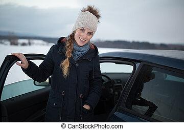 rueda, mujer felíz, hembra, conducción, coche, relajado,...