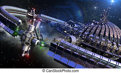 rueda, nave espacial, futurista