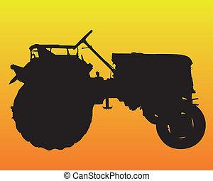 rueda, negro, silueta, tractor