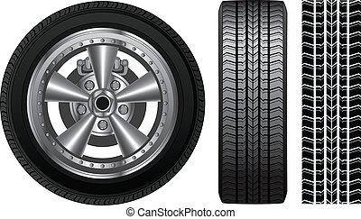 rueda, -, neumático, y, aleación, borde