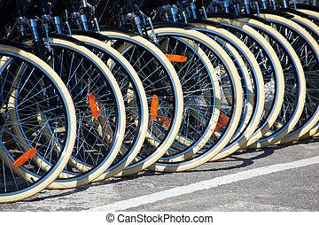 rueda, neumáticos, bicycles, fila, frente