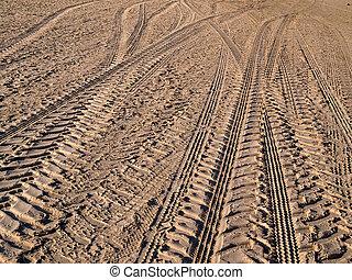 rueda, país, arena, pistas, camino