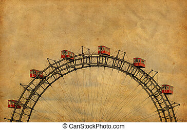 rueda, prater, ferris, vendimia, imagen, -, parque, famoso, austria, viena