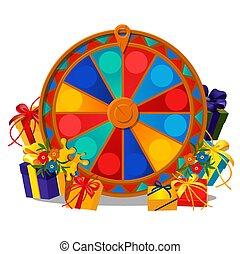 rueda, primer plano, fortuna, illustration., regalo,...