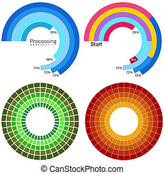 rueda, procesamiento, conjunto, gráfico