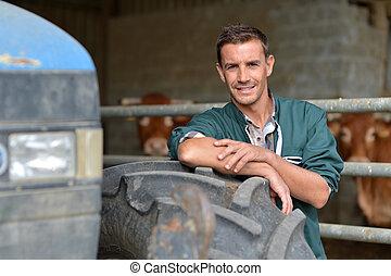 rueda, propensión, granjero, granero, tractor, guapo
