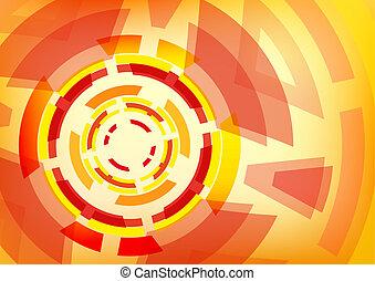 rueda, resumen, papel pintado, formas, fondo anaranjado, dentado, rojo