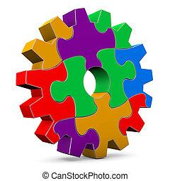rueda, rompecabezas, engranaje, colorido