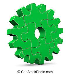 rueda, rompecabezas, verde, engranaje