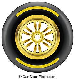 rueda, símbolo, carrera, neumático