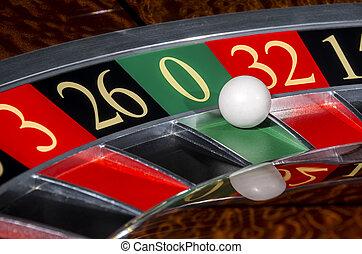 rueda, sector, clásico, ruleta, casino, cero