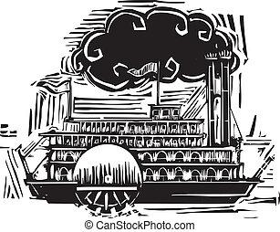 rueda, steamboat, lado, woodcut
