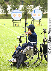 rueda, tiro al arco, silla, incapacitado