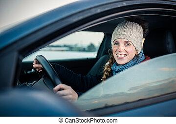 rueda, toned, image), mujer felíz, hembra, color que maneja,...