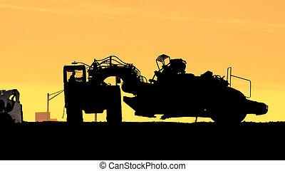 rueda, tractor-scraper