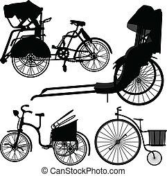 rueda, trishaw, bicicleta, viejo, triciclo