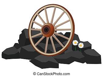rueda, vagón, rocas