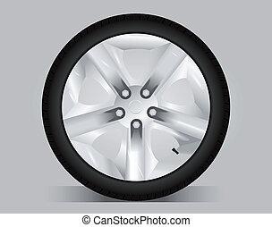 rueda, vector, -, aluminio, ilustración