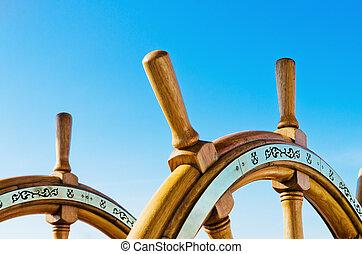 rueda, viejo, navegación, arriba, vasija, cierre, entrepuente