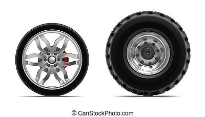 ruedas, aislado, blanco