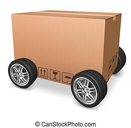 ruedas, cartón, blanco, caja