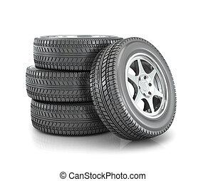 ruedas, coche, blanco, aislado, pila