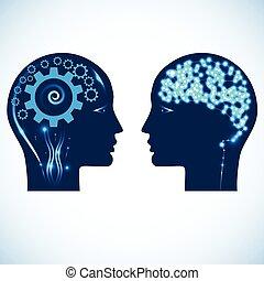 ruedas de marcha, y, un, brillado, cerebro, cabezas, de, dos...