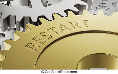 ruedas, engranaje, grabado, 3d, metal, -, reiniciar, render
