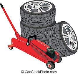 ruedas, gato, hidráulico