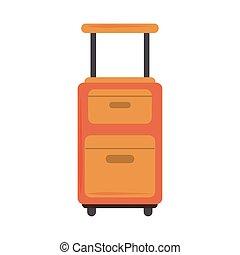 ruedas, maleta, estilo, icono, verano, viaje, vacaciones, manija, plano, moderno