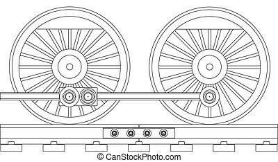 ruedas, tren, vapor