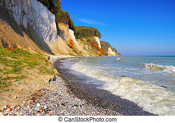 Ruegen island, the chalk cliffs in autumn