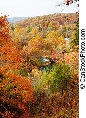 ruelle, maison, automne, printemps, moulin