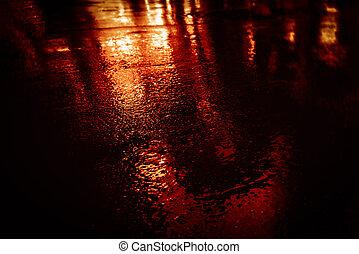 rues, après, asphalte, mouillé, nyc, pluie, réflexions