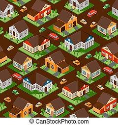 rues, banlieue, emballage, vecteur, illustration., papier, district., jeu, modèle, ville, conception, résidentiel, seamless, bâtiments, maisons, isométrique, isolé
