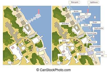 rues, carte, touriste, ligne, culturel, objets, mer, marques