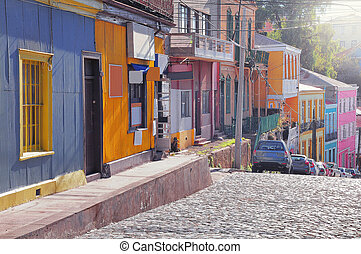 rues, city., centre, historique, vue