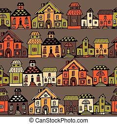 rues, dessin animé, vector., village