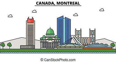 rues, ensemble, panorama, bâtiments, architecture, strokes., landmarks., silhouette, conception, ville, paysage, icônes, concept., isolé, plat, montreal., editable, illustration, canada, ligne, horizon, vecteur