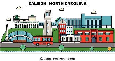 rues, panorama, bâtiments, architecture, strokes., landmarks., silhouette, conception, ville, paysage, icônes, concept., isolé, plat, carolina., nord, editable, illustration, ligne, raleigh, horizon, vecteur